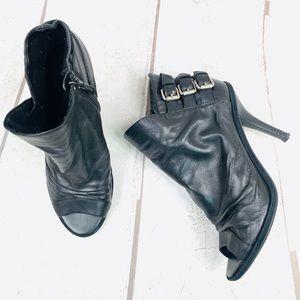 NINE WEST black open toe buckle booties -9…